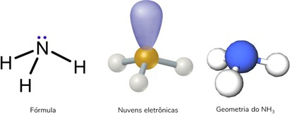 Molécula tetratômica com 4 nuvens eletrônicas